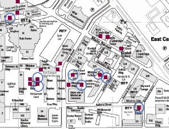 MIT campus map with location of doors studies